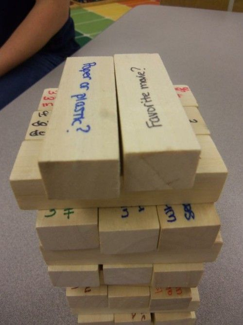 Conversation Jenga. Should do this with reading comprehension questions.