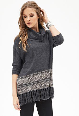 Tasseled Cowl Neck Sweater   FOREVER21 - 2055879860