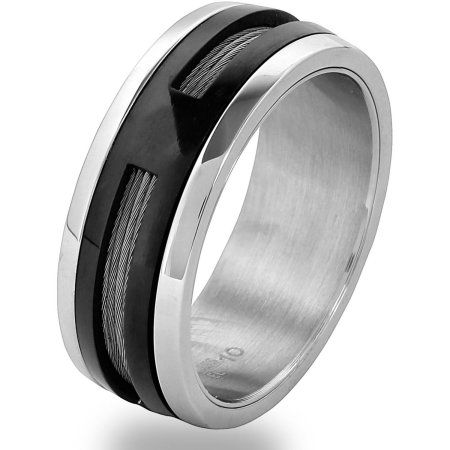 Men's Two-Tone Stainless Steel Cable Inlay Spinner Ring, Size: 12, Multicolor