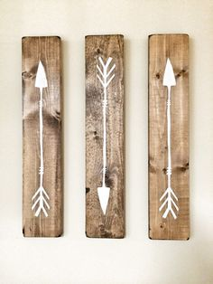 Rustic White Wooden Arrows - 3 Piece Set, Rustic Decor, Farmhouse Decor, Arrow… could make own version?