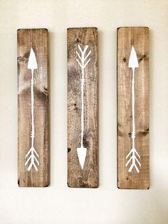 Rustic White Wooden Arrows - 3 Piece Set, Rustic Decor, Farmhouse Decor, Arrow…