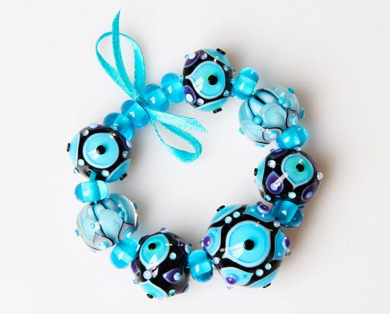 lampwork bead set turquoise purple beads for jewelry