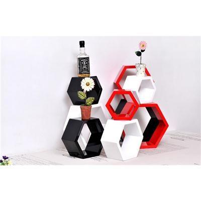Buy Desi Karigar Wall Mount Shelves Hexagon Shape Set of 9 Wall Shelves - Red, White