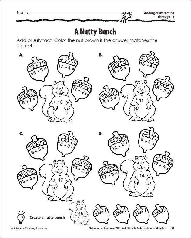 First Grade Subtraction Coloring Worksheets Matematika