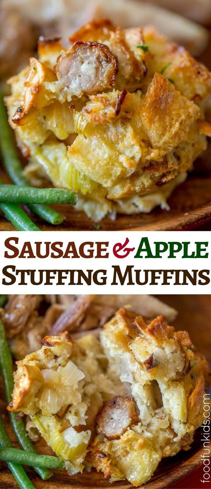 Easy Stuffing Muffins are a perfect holiday side dish your kids will love in the perfect portion size, filled with sausage and apple. via @foodfunkids
