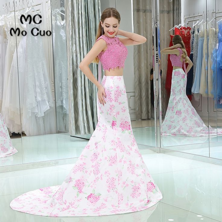 Two Pieces Gown 2017 Mermaid Print Pattern Prom dresses long graduation dresses Cap Sleeve Evening Prom. Click visit to buy #PromDress #Dress