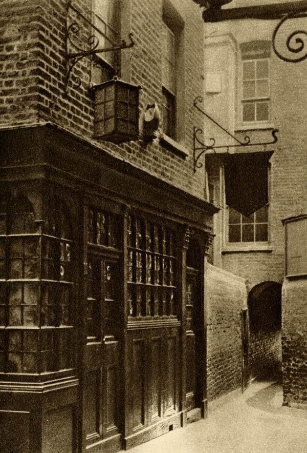 The Mitre Tavern, between Hatton Garden and Ely Place. It bears a stone mitre carved on the front with the date 1546. Ely Place still has its own Watchman who closes the gates a ten o'clock and cries the hours through the night.