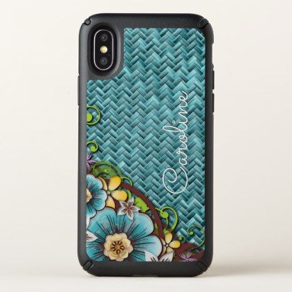 Custom Yellow Turquoise Summer Floral Weave Motif - patterns pattern special unique design gift idea diy