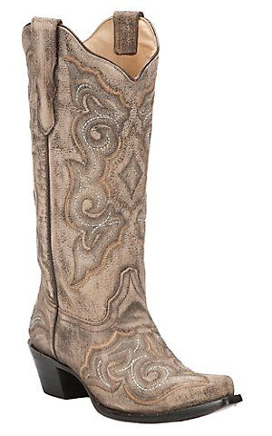 Corral Women's Distressed Taupe with Fancy Chocolate Stitch Snip Toe Western Boots | Cavender's