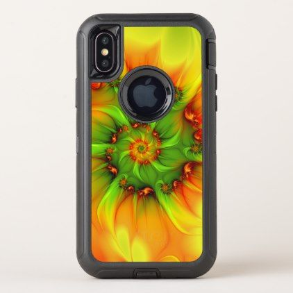 Hot Summer Green Orange Abstract Colorful Fractal OtterBox Defender iPhone X Case - personalize cyo diy design unique