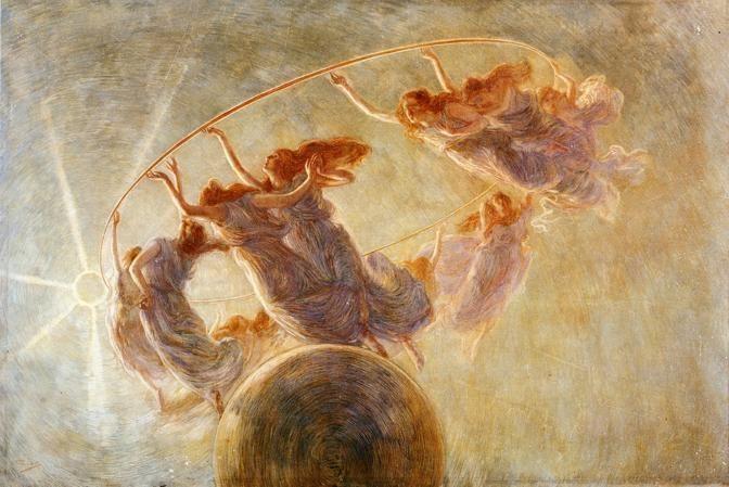 Gaetano Previati - La Danza delle Ore, 1899. Previati was an Italian Symbolist painter of the Divisionist style
