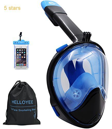2017 HELLOYEE Snorkel Mask GoPro Compatible Panoramic View For Adults And Kids Snorkeling Mask Full Face Anti-Fog Anti-Leak Design With Waterproof Phone Pouch
