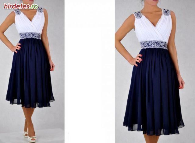 Csodaszép díszítéssel kék-fehér női alkalmi ruha 44, 46, 48, 50 - Ruha, Divat - Estélyi, koktél, kisestélyi