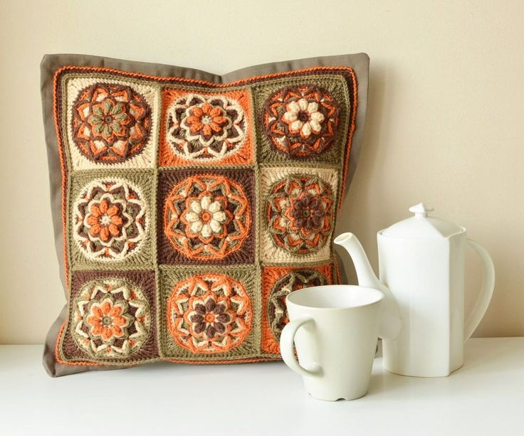 Pillow with lotus pattern