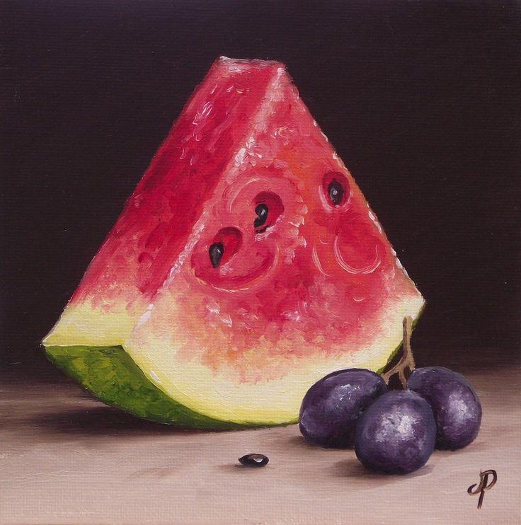"""Watermelon with Grapes"" original fine art by Jane Palmer"