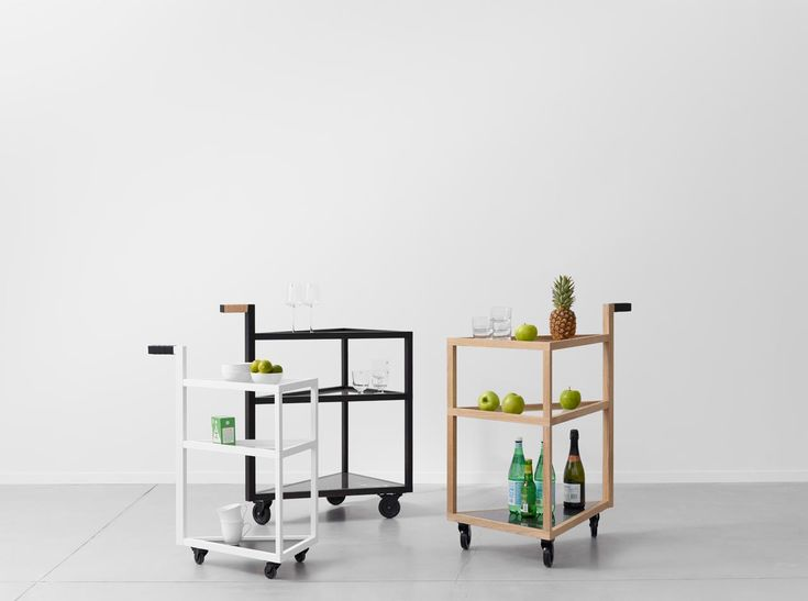 triangular trolley cart that can be used as a side table or bar cart