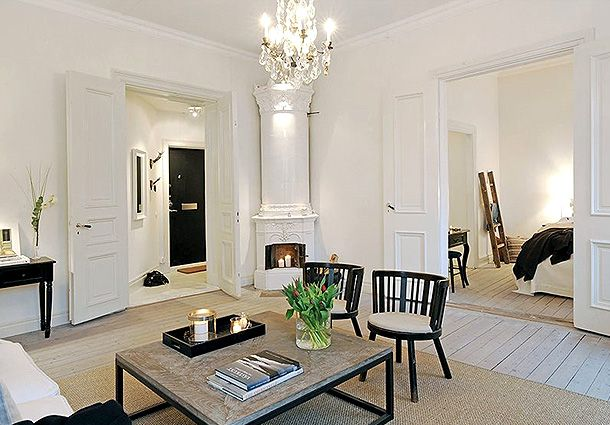 stockholm apartment style.Love this layout.