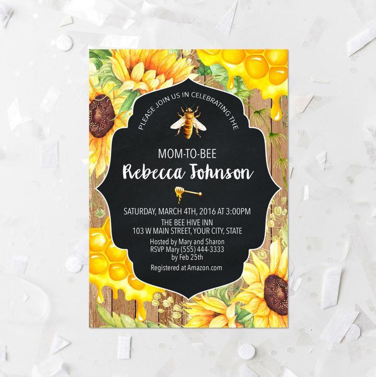 Baby Shower Printable Invitation Mom To Bee Baby Shower Invite Honeycomb and Sunflower Baby Shower Invite Bee Theme Baby Shower Invitation by MossAndTwigPrints on Etsy