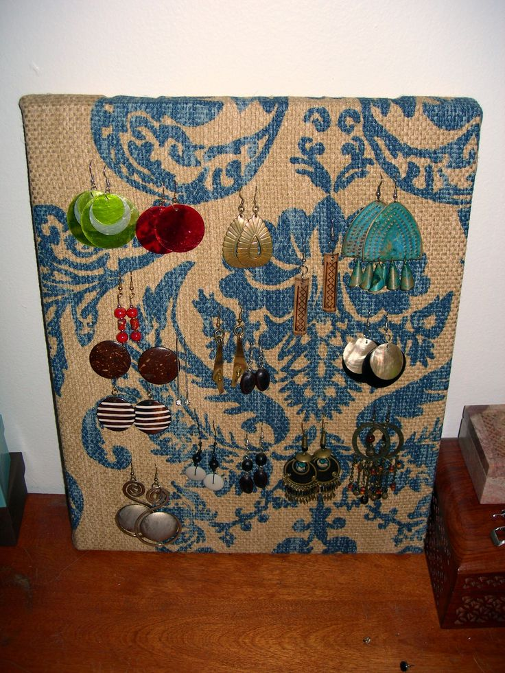 earring holder with upholstery samples Make one to match each girls bathroom style