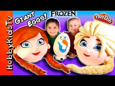 Mega GIANT ELSA Anna Frozen Surprise Eggs! Olaf Toys Play-Doh Egg, Chocolate Eggs HobbyKidsTV - YouTube