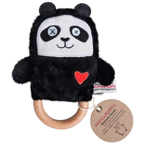 OB Designs Natural Teether Toy AMANDA PANDA DINGaRING. Unique natural wooden teething toy with a plush panda rattle. Amanda is a yoga instructor!