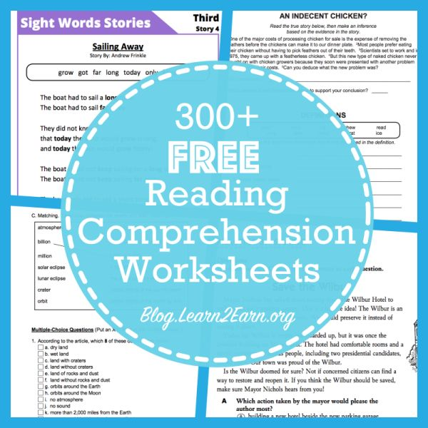 Reading comprehension worksheets for adults pdf
