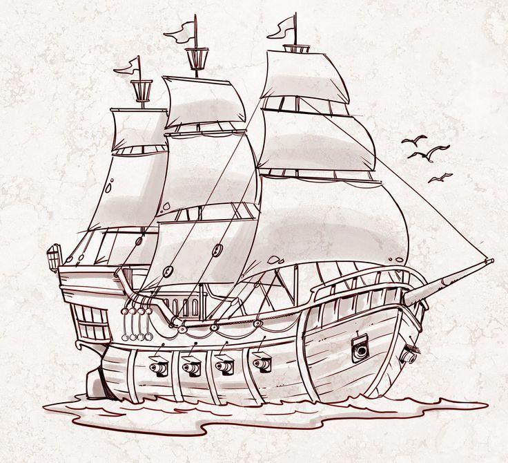 Afbeeldingsresultaat voor pirate ship drawing