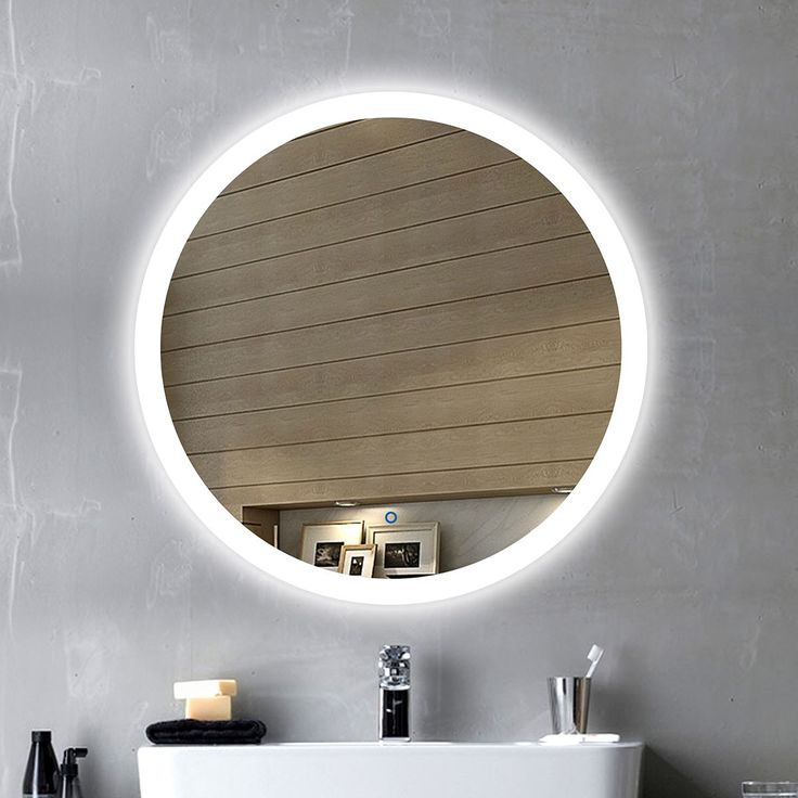 Round LED Bathroom Silvered Mirror, Touch Button/24 Inch x 24 Inch (DK-OD-CL065-1)