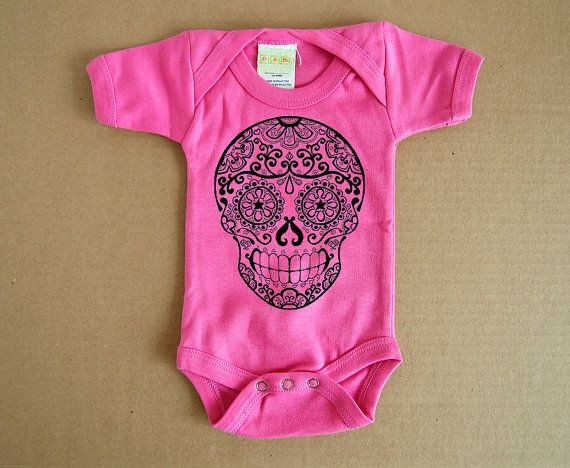 Hot Pink Sugar Skull Baby Clothes. 3, 6 or 12 months. Day of the Dead Bodysuit Creeper. Infant Girl Boy Rockabilly. Toddler Skull Tattoo.  Etsy shop BonesNelson