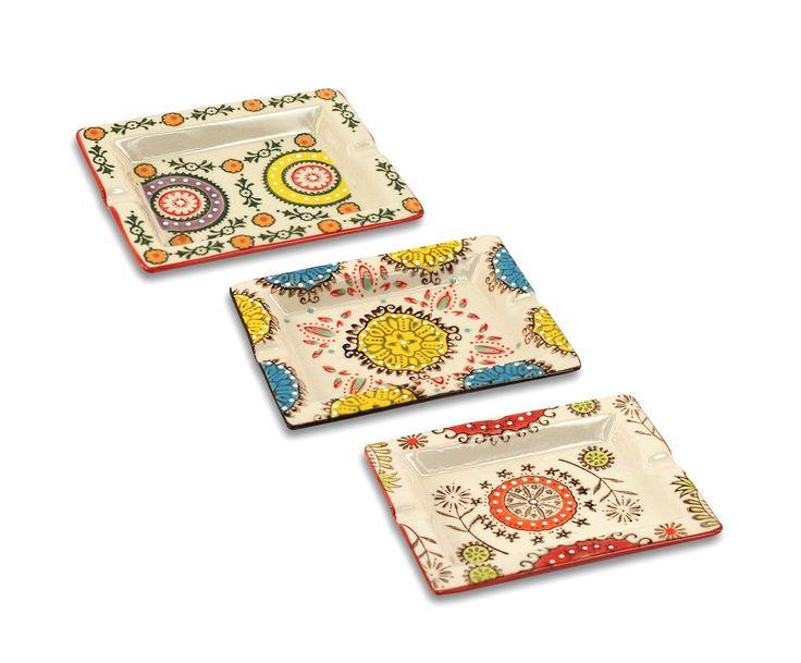 Set de 3 ceniceros en cerámica, multicolor - pequeños   Westwing Home & Living