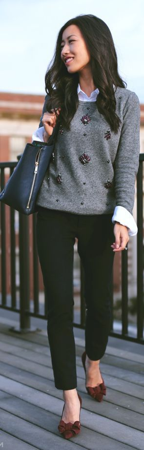 Grey Embellished Knit Jumper by Extra Petite
