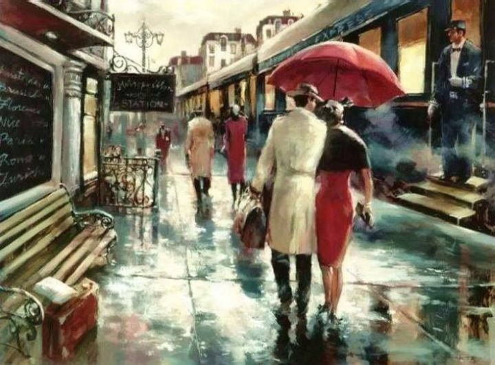 Painting by Brent Heighton !!…..PLEASE NOTE-- SHE HAS MATCHED HER SKIRT WITH HER UMBRELLA……BETTER TO BE WET THAN OUT OF STYLE, HUH ??………ccp