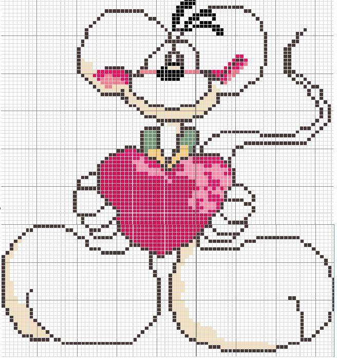 Diddl with heart cross stitch chart.