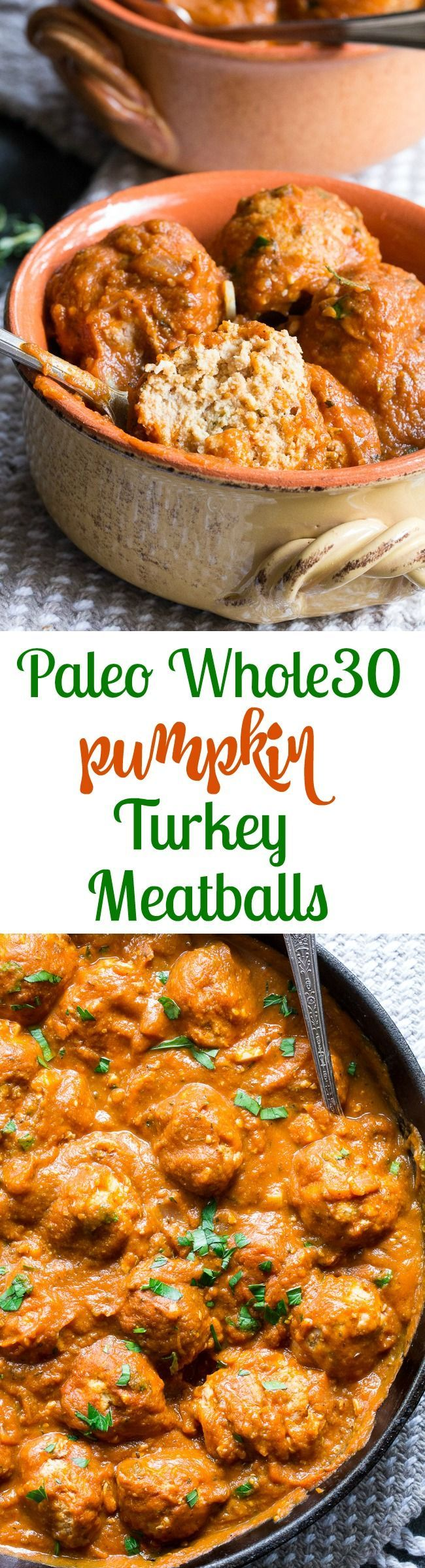 Pumpkin Turkey Meatballs with Creamy Harvest Tomato Sauce {Paleo, Whole30} #justeatrealfood #paleorunningmomma
