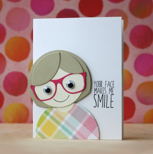 adorable customized character faces by Laura Bassen using Nested Circles die and Sunglasses die by SSS