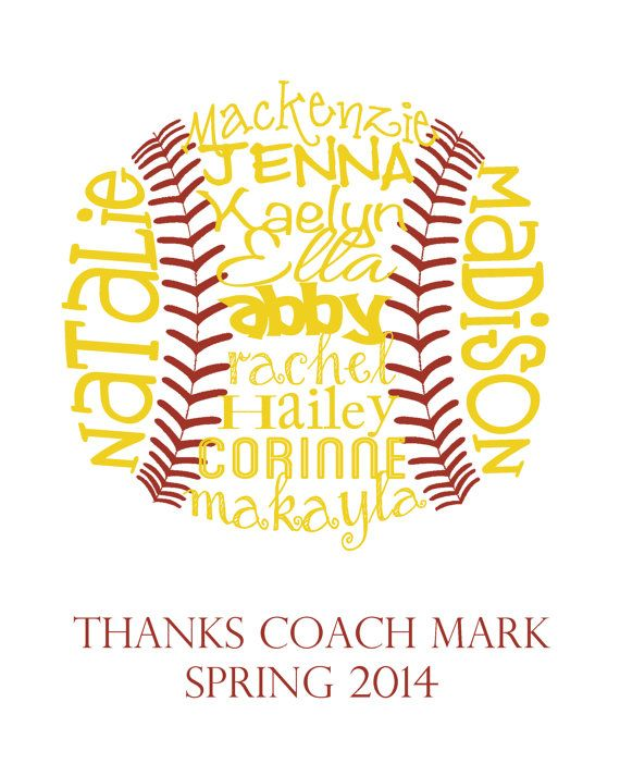 Softball Gift... Typography Art 8x10 by lesleygracedesigns on Etsy