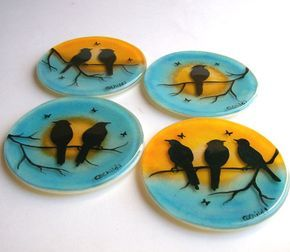 Fused Glass Coasters (Birds On A Branch) I would maybe adapt this to seasons... would love ravens and bats for Hallowe'en. Vio~