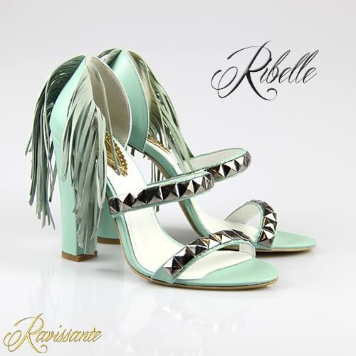 Fringe & studs on baby blue Sandals. Definitely for being different !<3