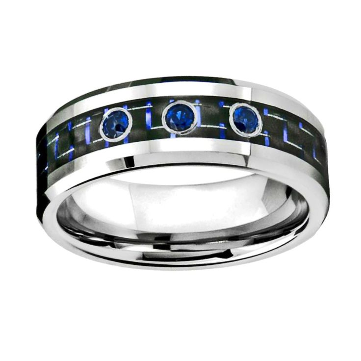 0.15ct Blue Sapphire in Carbon Fiber Inlay Tungsten Wedding Band Ring