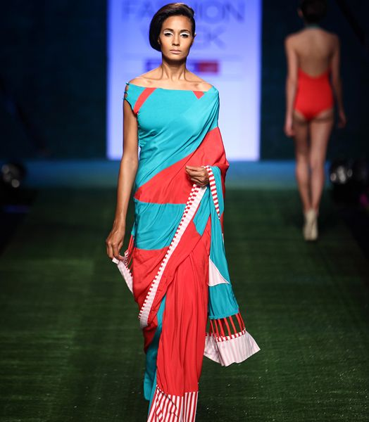 Fashion designers, Shivan & Narresh's destination sari and mastectomy blouse.