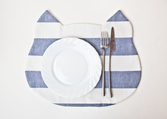 Placemat Cat strips Blue Fabric placemat by JuliaWine on Etsy, $17.00