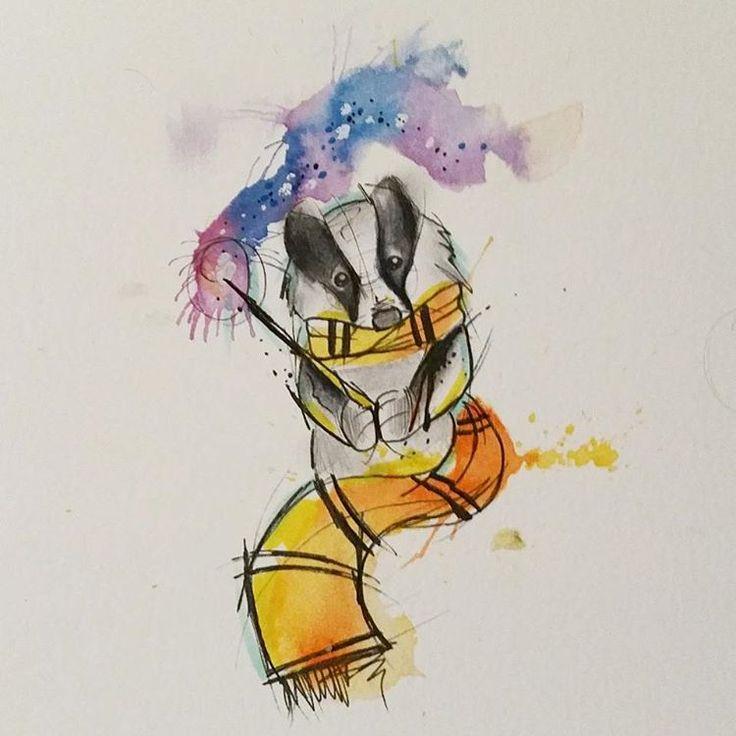 Hufflepuff #harrypotter #harrypottertattoo #badger #badgertattoo #jkrowling…