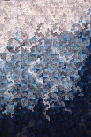 amazing japanese blue and indigo quilt: Drunkards Path Quilt, Japanese Blue, White Quilt, Blue Quilt, Art Quilt, Japanese Quilts, Japanese Fabric, Path Block