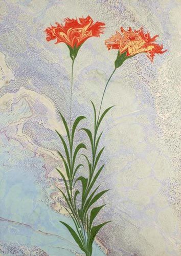 Efsun Çiçegi (Enchanting Beauty Flowers). (Istanbul: Ebristan, c. 2003). Original marbled paper by the premier marbling artist in Turkey, Hikmet Barutcugil. Signed by the artist. Barutcugil has developed his own technique for creating flowers within his marbled patterns, inspired by his wife, Füsun Hanim.