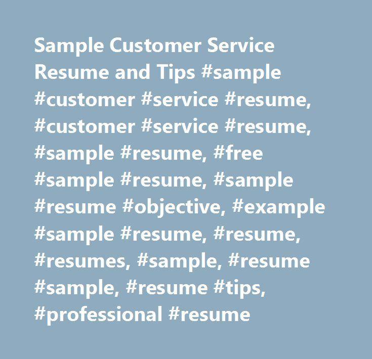 As 25 melhores ideias de Resume objective sample no Pinterest - sample resume for customer service rep
