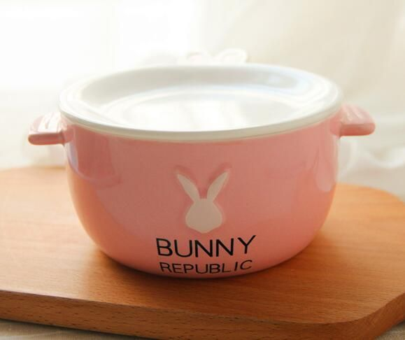 Cartoon Rabbit Food Rice Salad Pottery Noodles Ceramic Bowl Soup Tableware Dinner Bowl Spoon Creative Lovely Hand Painted