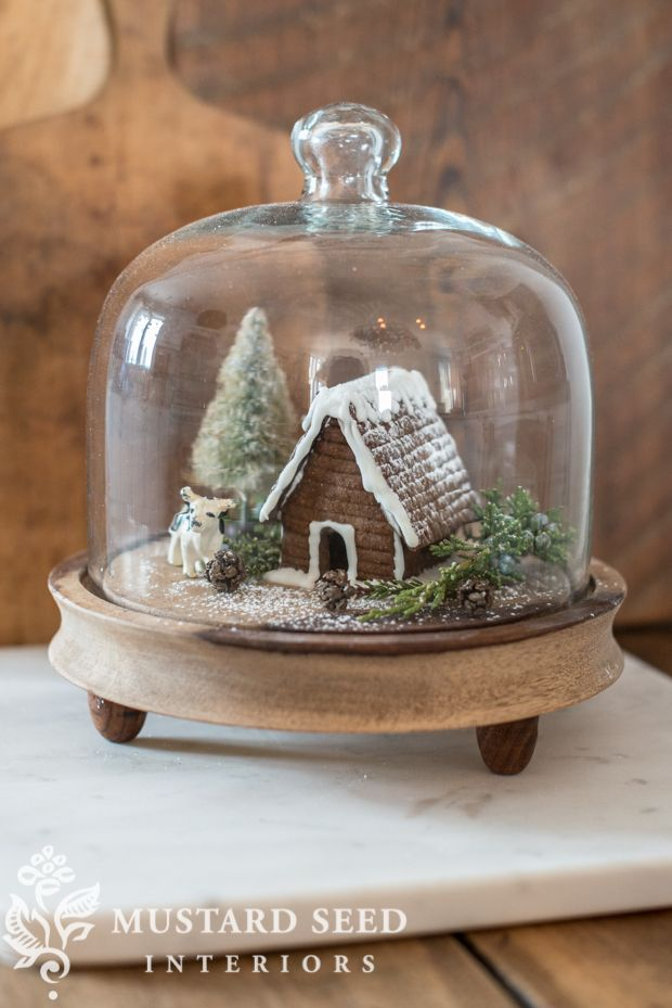 Gingerbread house under cloche