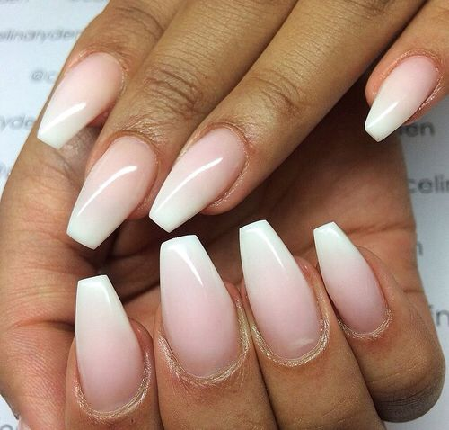Air brush coffin nail shape natural looking nails