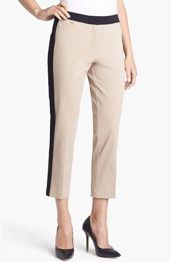Chaus Colorblock Crop Pants available at #Nordstrom. Color lock and tuxedo pant trend!