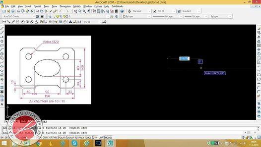 AutoCAD Kastamonu üniversitesi ödev2 çizimi makine mühendisliği